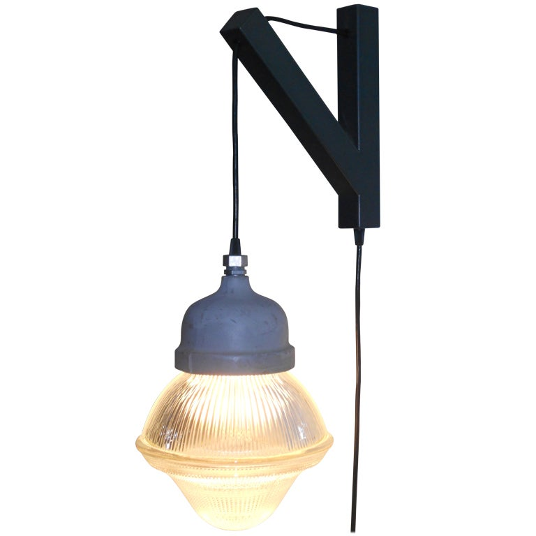 Wall Bracket Pendant Lamp : Holophane Acorn Pendant Light with plug-in on Wall Bracket at 1stdibs
