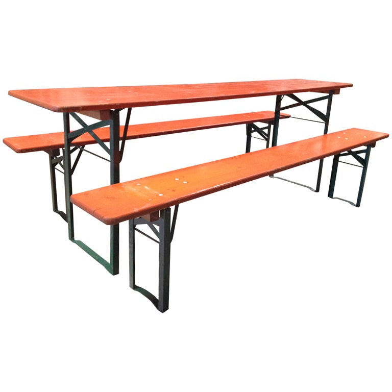 Vintage Folding German Beer Garden Picnic Tables W Benches