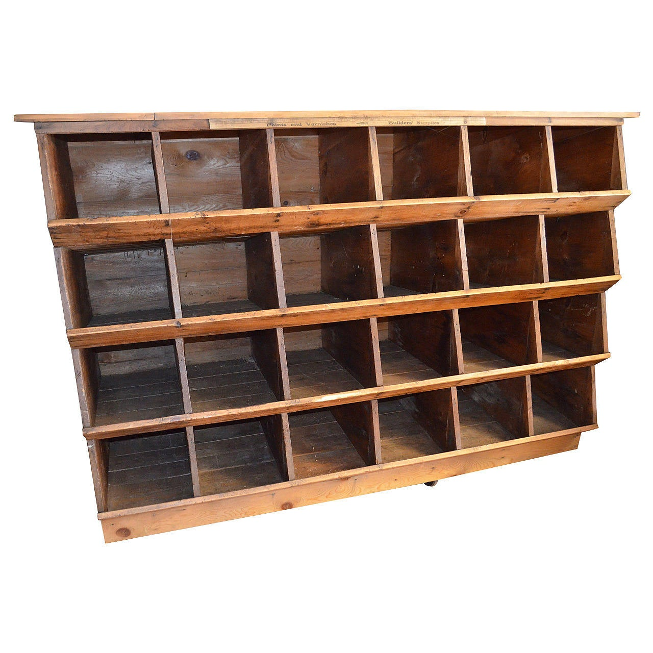 Storage Shelving Unit Of Wood Was Once Chicken Nesting Box
