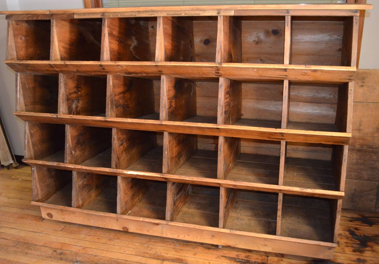 Where chickens once nested and laid their eggs you can now nest your myriad items of daily use within 24 nifty (and deep) cubbies. Cleaned and sealed, this sturdily, hand-constructed, wooden wonder bears no fragrance from the hen house of old. And