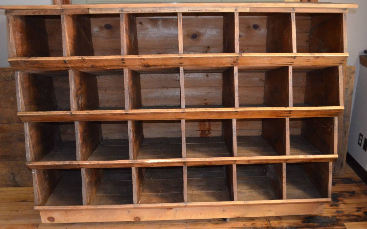 Storage Shelving Unit of Wood was Once Chicken Nesting Box In Excellent Condition For Sale In Madison, WI