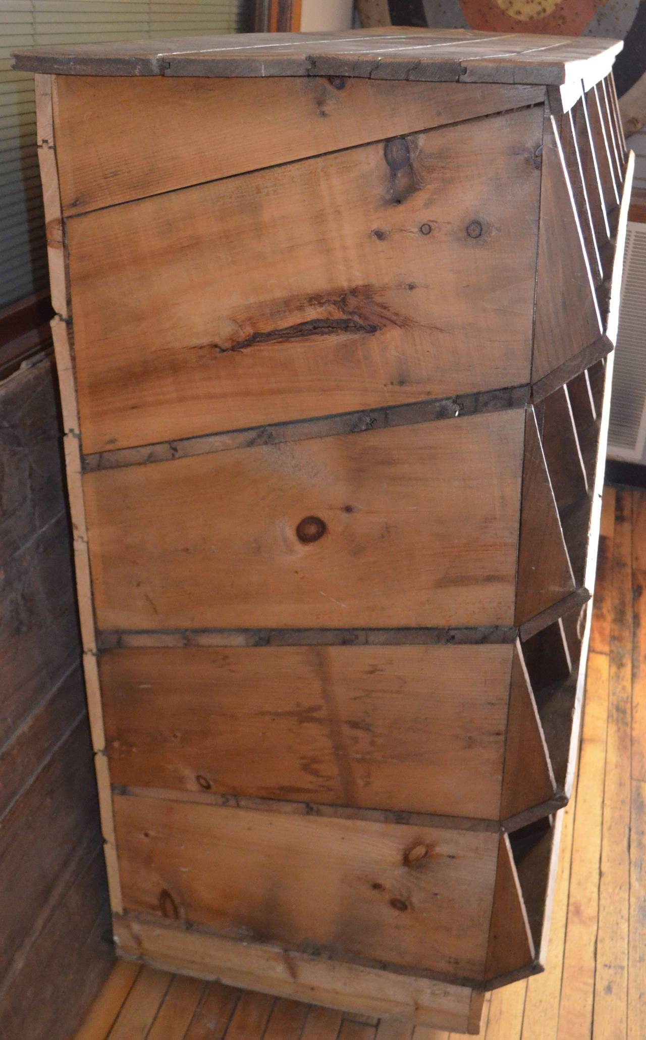 20th Century Storage Shelving Unit of Wood was Once Chicken Nesting Box For Sale