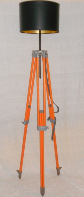 Surveyor Tripod Of Orange Painted Steel As Adjustable