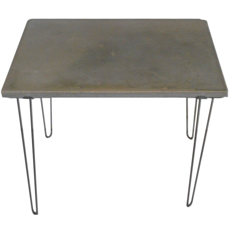 Concrete Table On Hairpin Legs At 1stdibs
