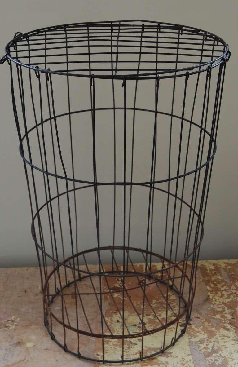 vintage wire basket with lid at 1stdibs. Black Bedroom Furniture Sets. Home Design Ideas