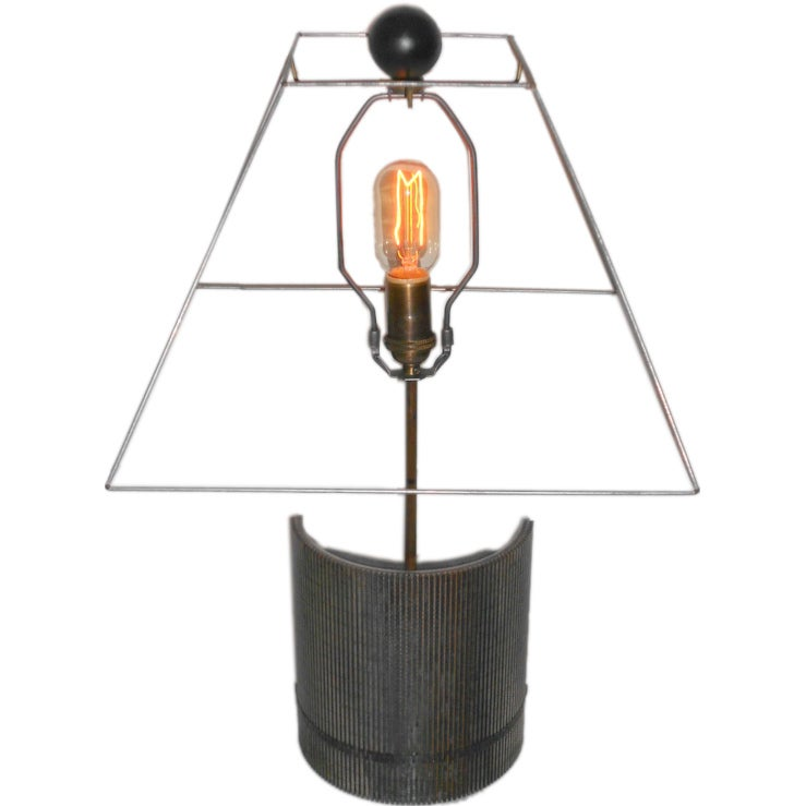 Table Lamp With Grooved Steel Industrial Base For Sale At