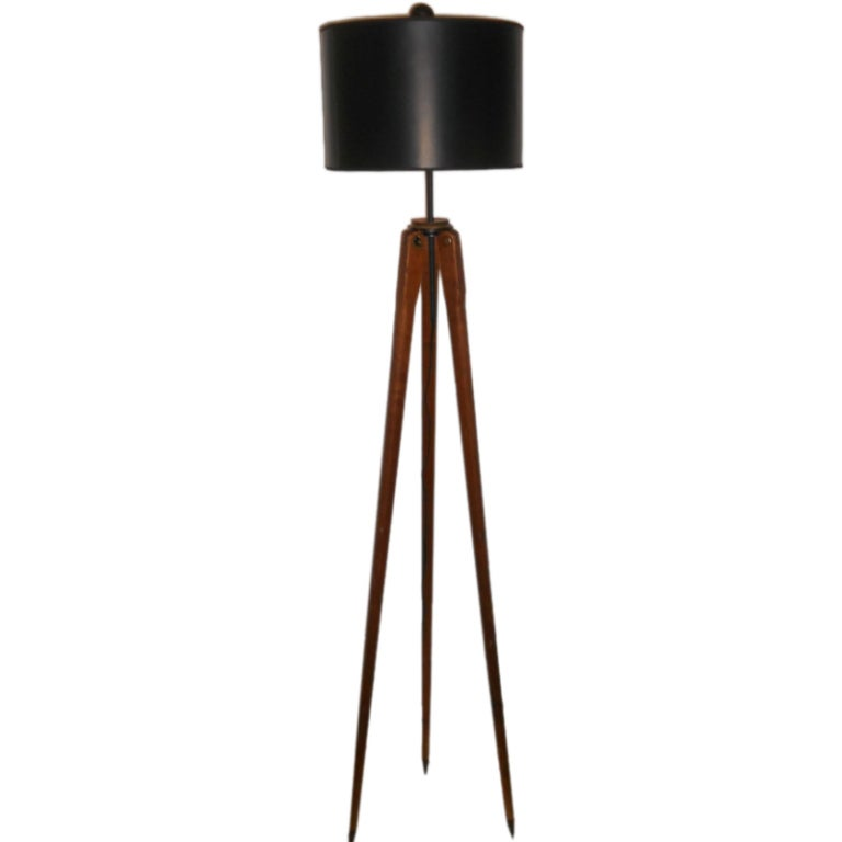 Floor lamp from wooden surveyor39s tripod for Surveyors floor lamp wood