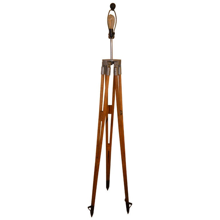 Surveyor tripod from west german manufacturer as floor for Surveyors floor lamp wood