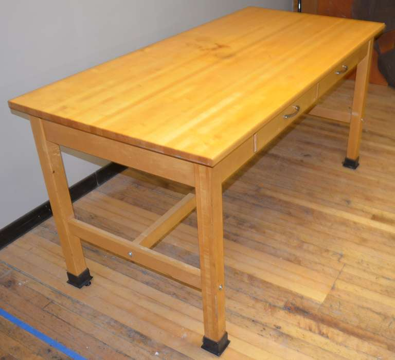 this vintage maple butcher block lab table island is no longer