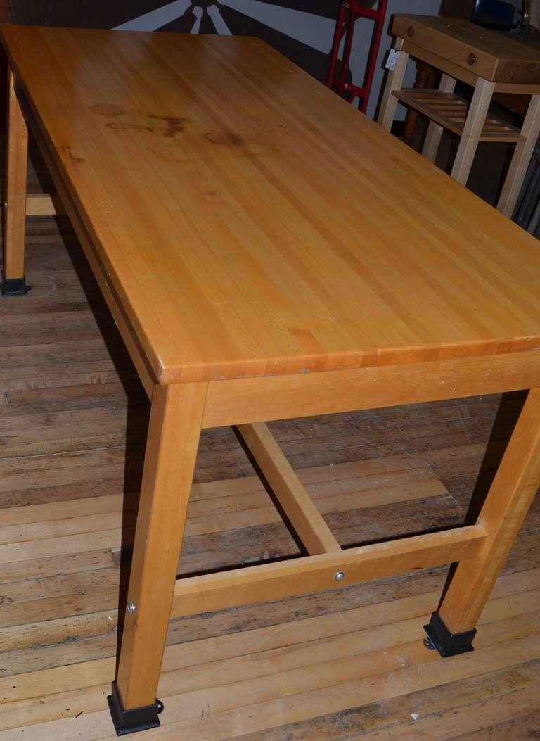 vintage maple butcher block lab table island at 1stdibs