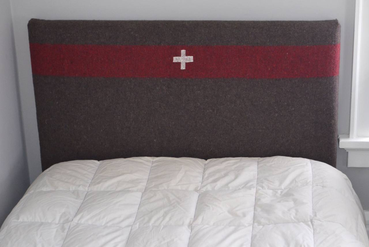 headboard for twin bed upholstered in swiss army blanket 3