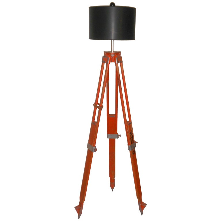 Floor lamp from adjustable surveyor39s tripod at 1stdibs for Surveyors floor lamp wood