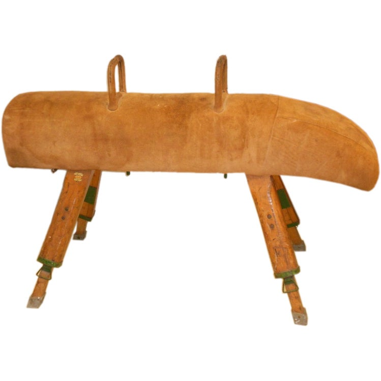 Antique Leather Suede Gymnastics Pommel Horse