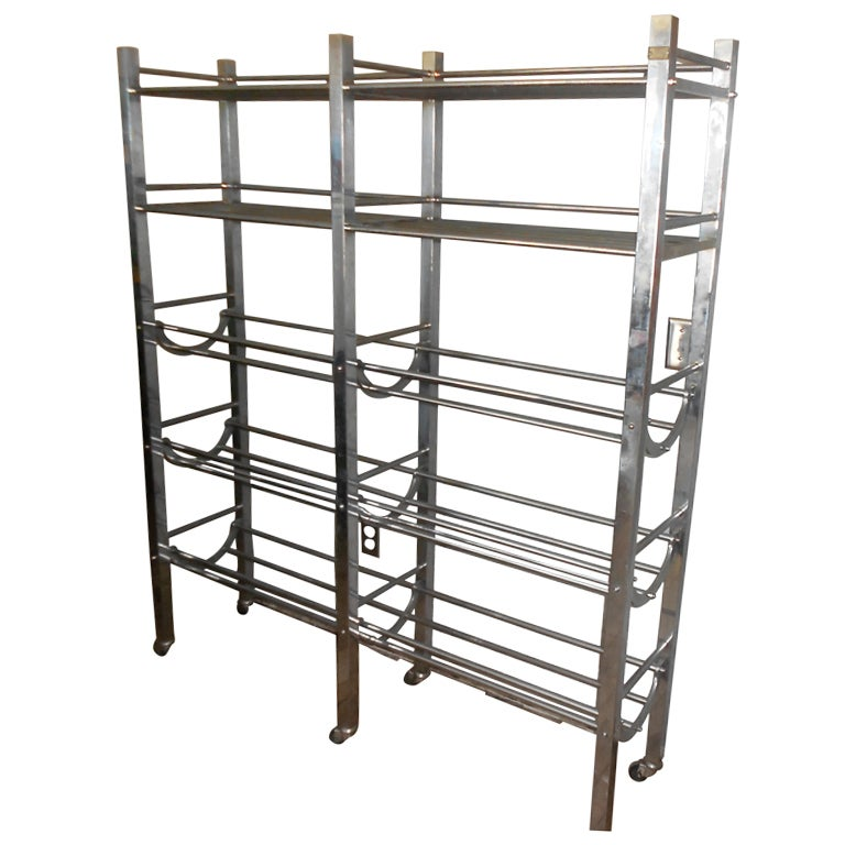 belgian stainless steel storage rack on wheels at 1stdibs. Black Bedroom Furniture Sets. Home Design Ideas