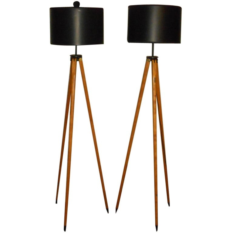 Matched Pair of Vintage Surveyor Tripods as Floor Lamps