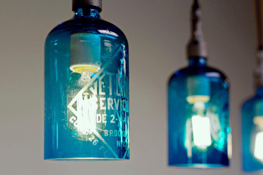 Etched glass seltzer water bottle pendant lights clear or for Glass bottles with lights in them