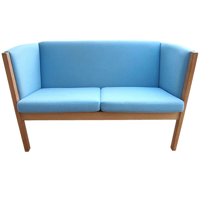 Danish modern hans wegner settee loveseat sofa couch at for Settees and sofas