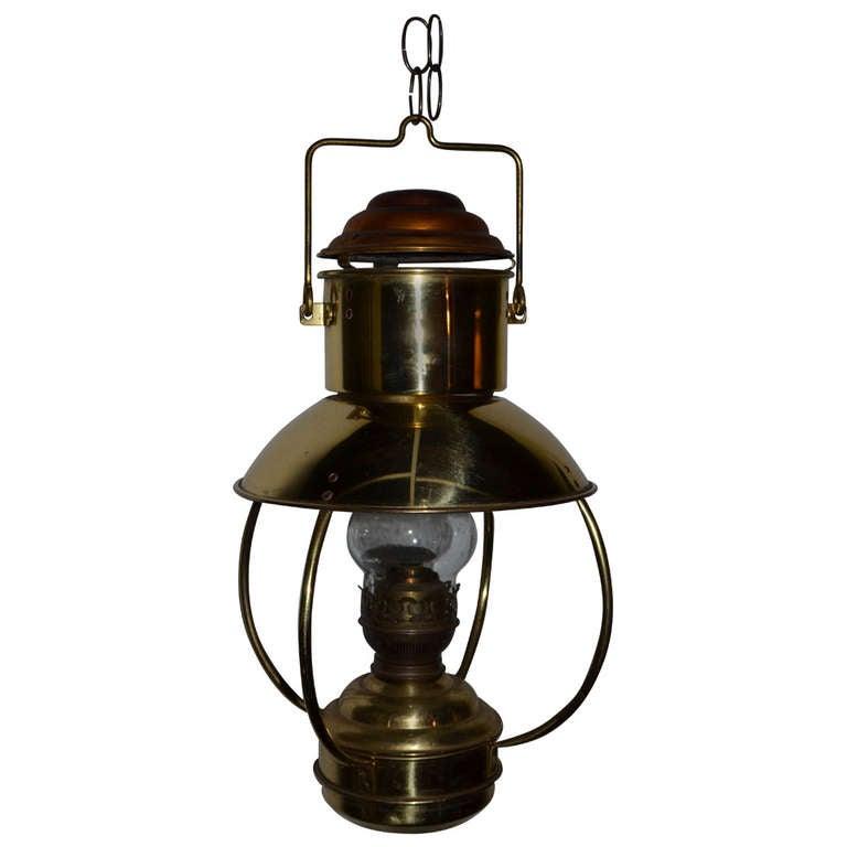 Mid Century Hanging Copper Lantern Illuminated By Lamp Oil