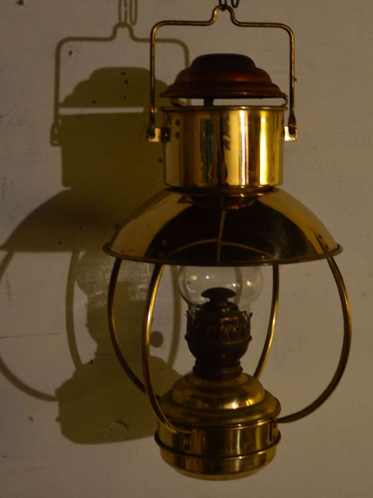 Mid Century Hanging Copper Lantern Illuminated By Lamp Oil At 1stdibs