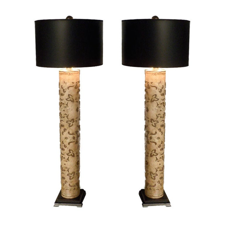 4 39 tall table lamps from antique wallpaper printing rollers pair at 1stdibs. Black Bedroom Furniture Sets. Home Design Ideas