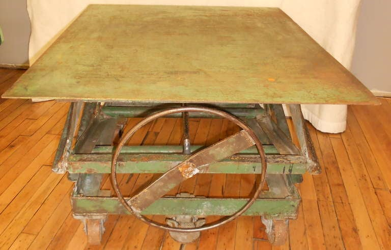 Steel Top Industrial Scissor Lift As Coffee Table End Table Dining Table At 1stdibs