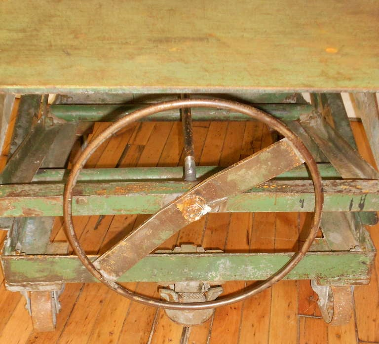 Industrial Style Lift Top Coffee Table: Steel-top Industrial Scissor Lift As Coffee Table, End