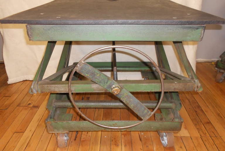 Seriously Functional Furnishing This Vintage Steel Factory Scissor Lift Adjusts From Low Coffee