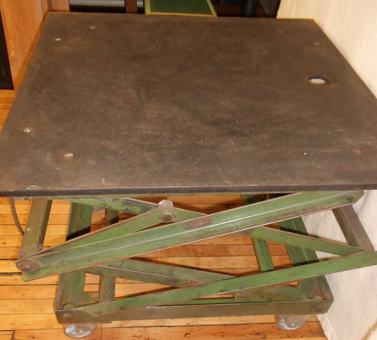 Slate Top Industrial Scissor Lift As Coffee Table End Table Dining Table At 1stdibs