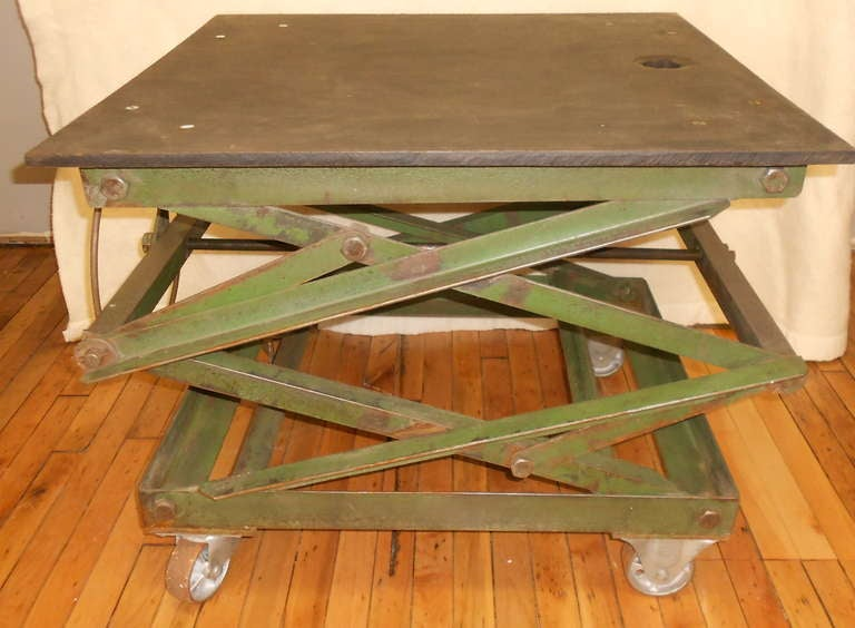 Slate Top Industrial Scissor Lift As Coffee Table End Table Dining
