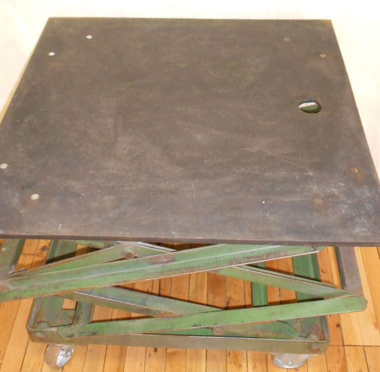 Industrial Style Lift Top Coffee Table: Slate-top Industrial Scissor Lift As Coffee Table, End