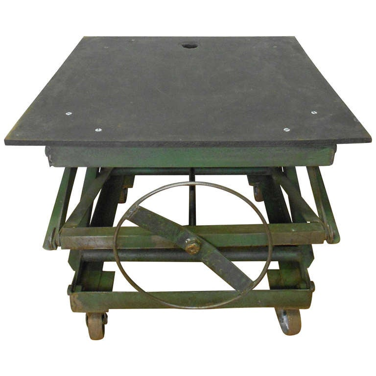Slate top industrial scissor lift as coffee table end table dining table at 1stdibs Slate top coffee tables