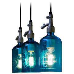 Pendant Light from Etched Glass Seltzer Water Bottle, Clear or Blue