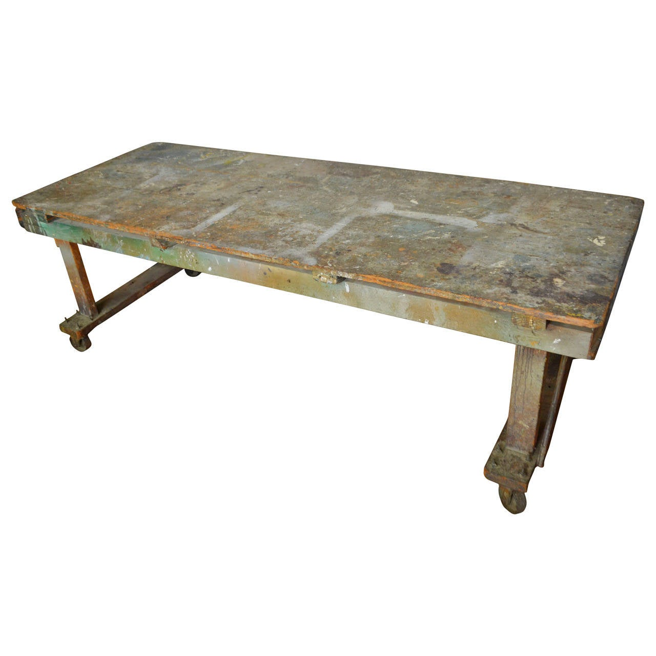 Industrial Handcrafted Paint Splattered Wooden Worktable Harvest Table On  Wheels 1