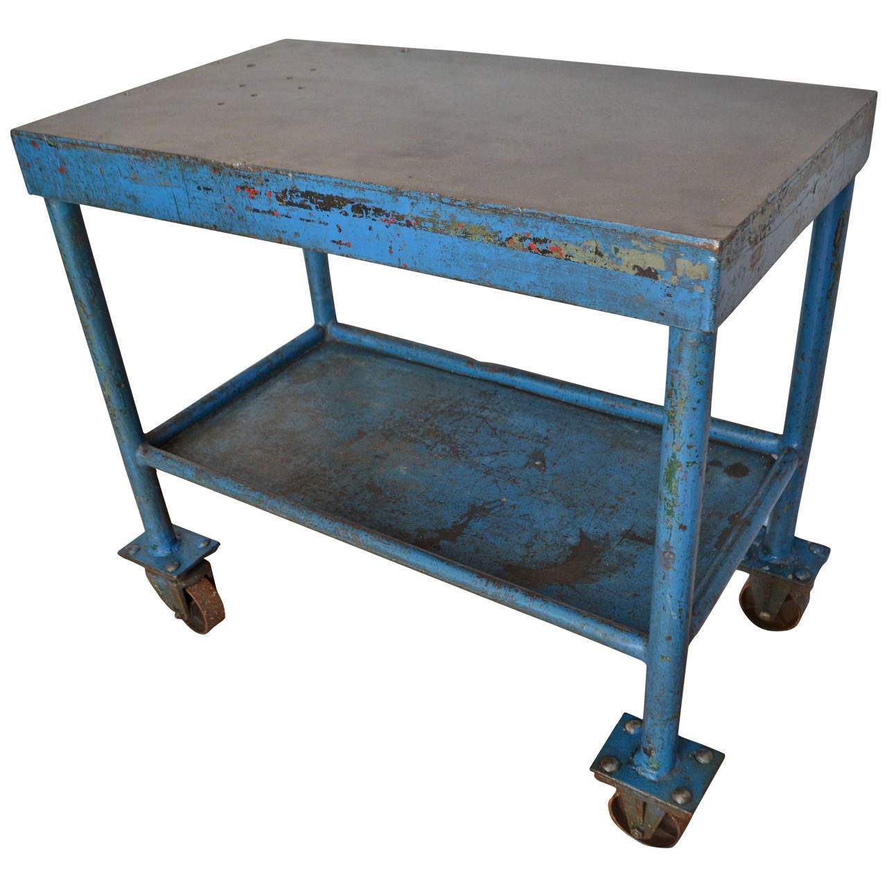Industrial Work Table Bar Cart On Wheels In Blue Painted