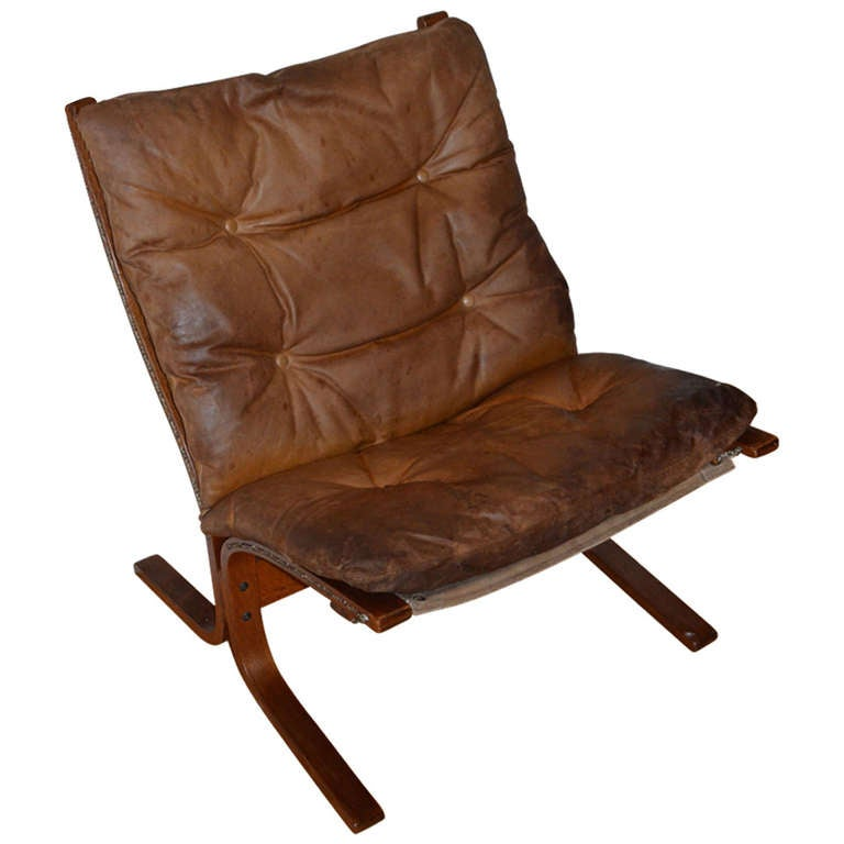 Mid century ingmar relling siesta leather chair from for Mid century modern leather chairs
