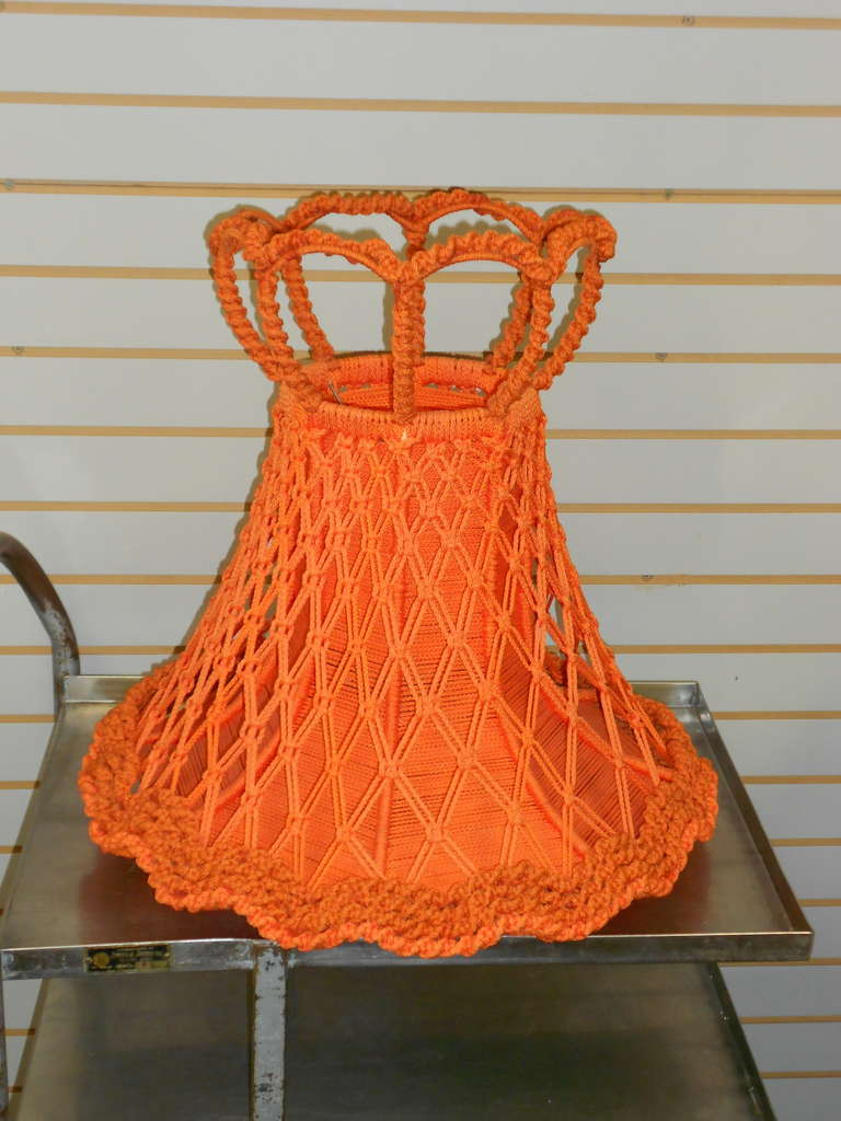 mid century lamp shade of crocheted orange fabric pair available at. Black Bedroom Furniture Sets. Home Design Ideas