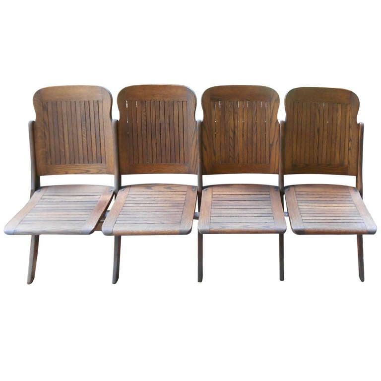 Early 20th Century Set Of 4 Folding Oak Chairs At 1stdibs