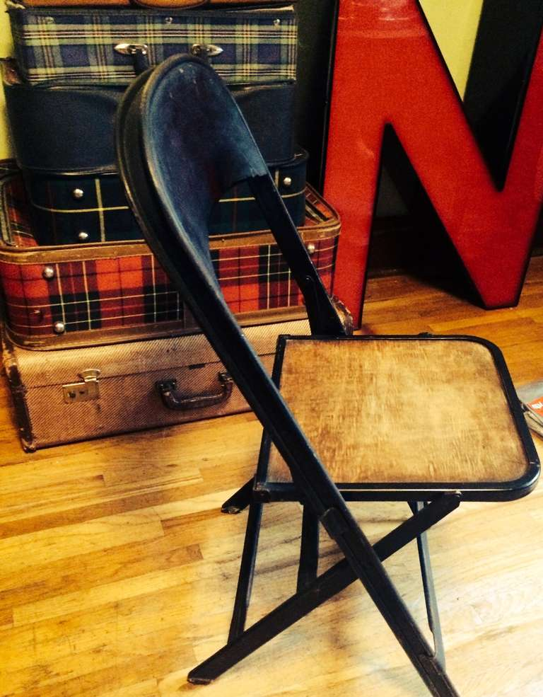 Vintage Folding Chair With Steel Frame And Wooden Seat 50