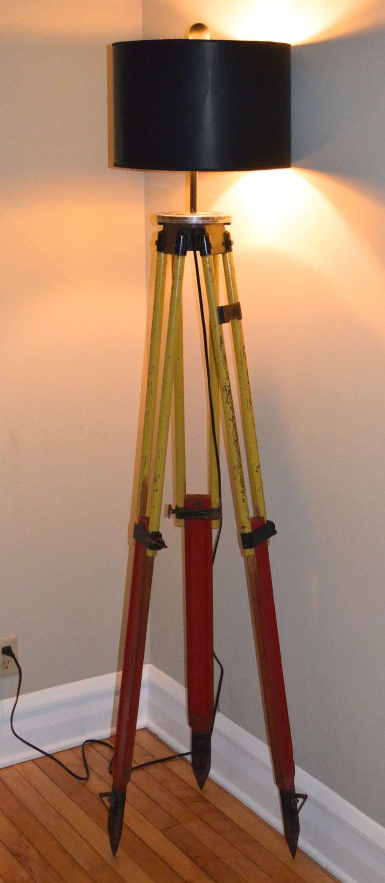 Floor Lamp Made From A Surveyor S Tripod At 1stdibs