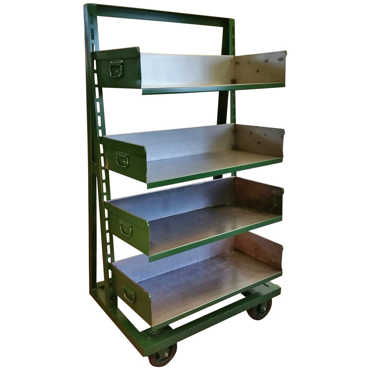 Industrial A-Frame Rolling Storage Unit Bookshelf with Adjustable ...
