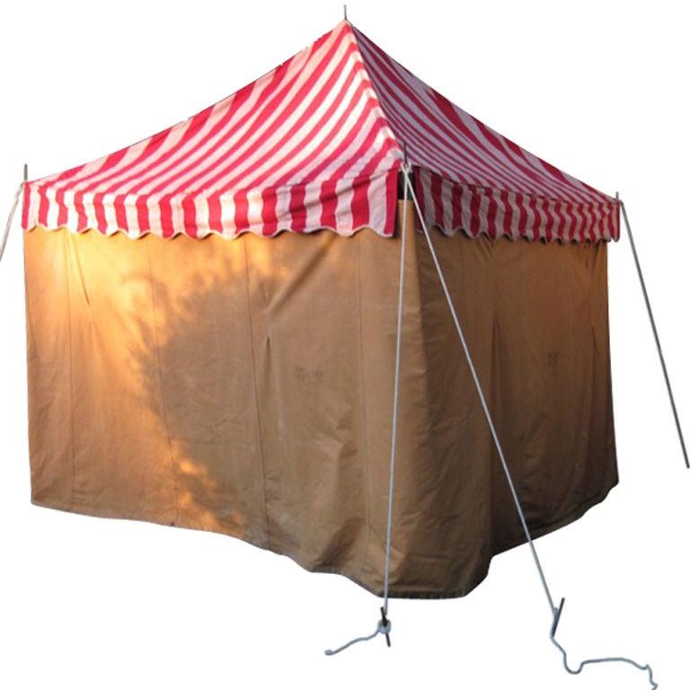 Canvas Tent Awning Striped Circus Design Circa 1940s At