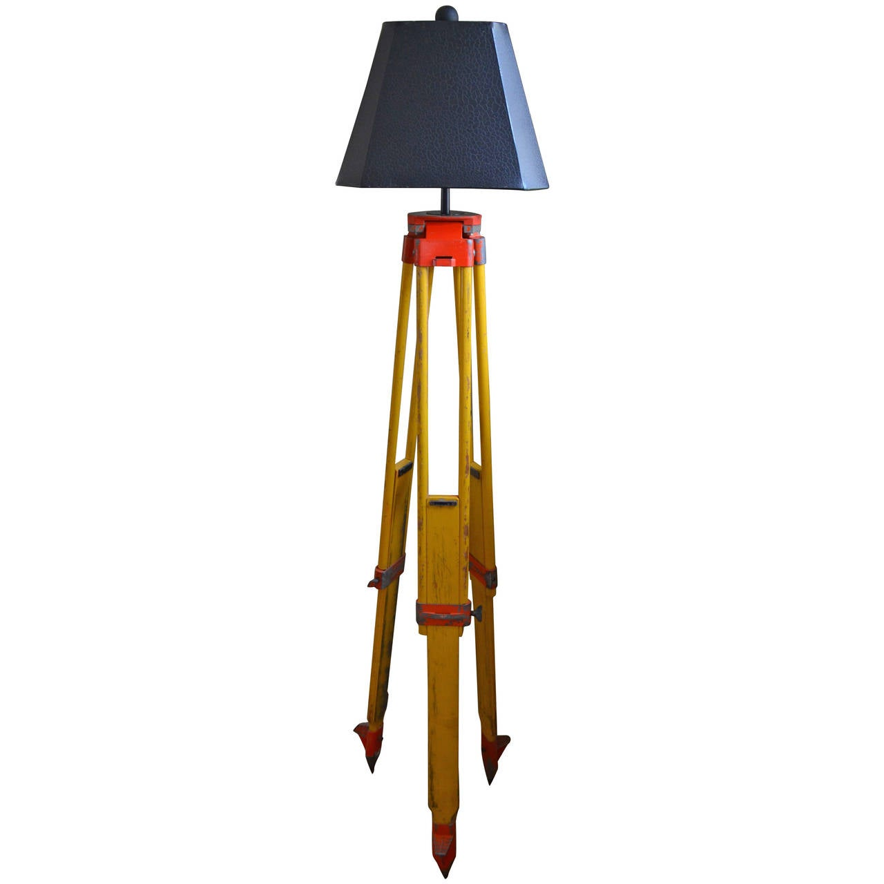Floor lamp from adjustable surveyor39s tripod of wood and for Surveyors floor lamp wood