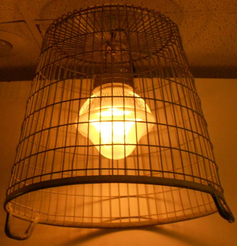 Steel Basket W Mid Century Holophane Prism Globe As