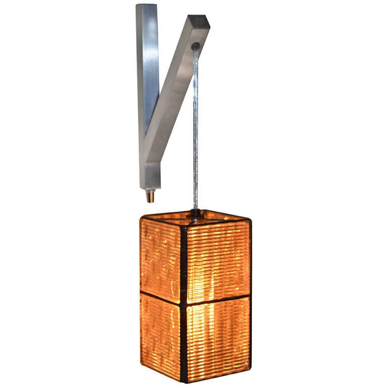 Hanging Lamps That Plug In To The Wall : Luxfer Prism Tiles made into Wall Plug-In Pendant Light at 1stdibs