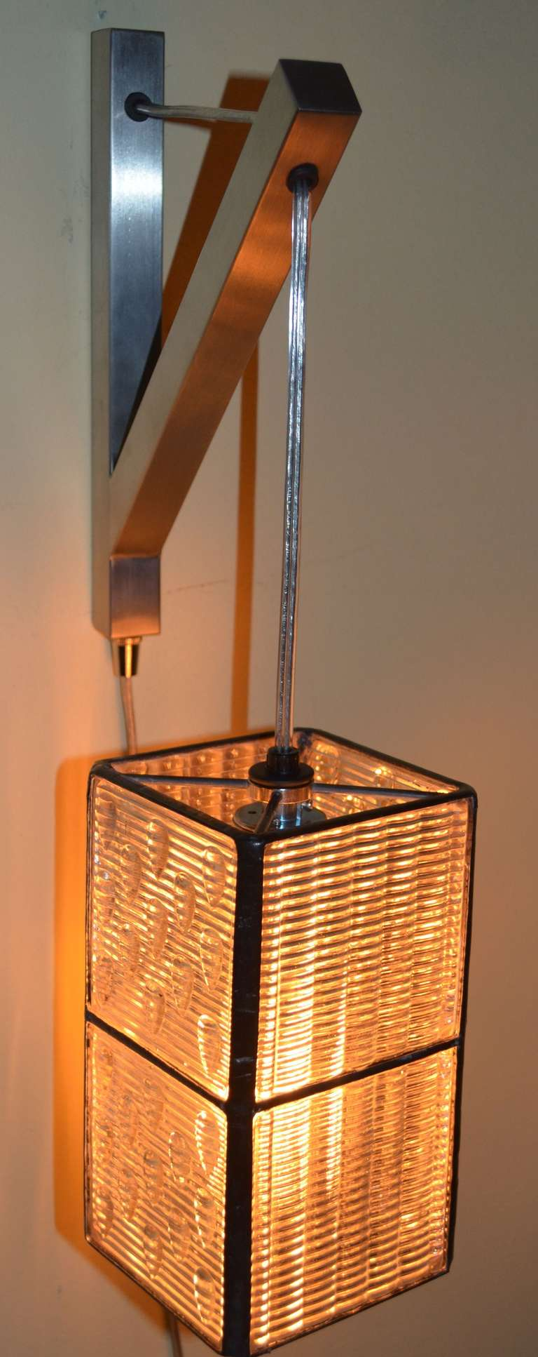 Hanging Lamps That Plug Into Wall : Luxfer Prism Tiles made into Wall Plug-In Pendant Light at 1stdibs