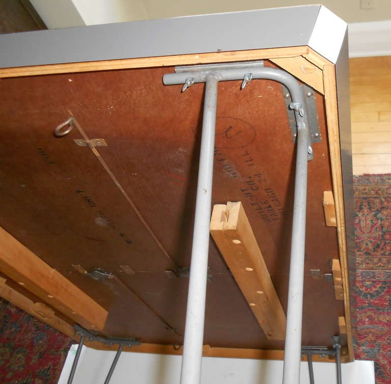 Mid Century Dining Table On Hairpin Legs With Leaf At 1stdibs