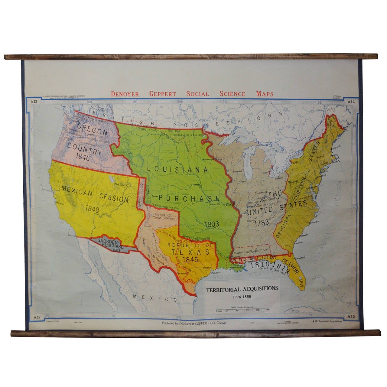 Map of USA Territorial Acquisitions, 1776-1866, Edition 1956 at 1stdibs