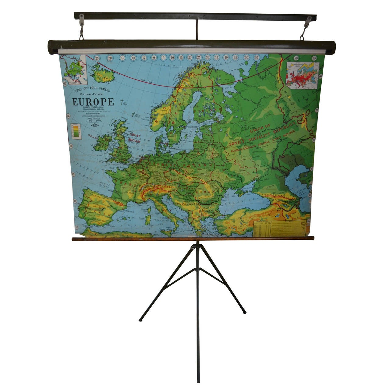 Map Of Europe From 1956 With Display Stand At 1stdibs