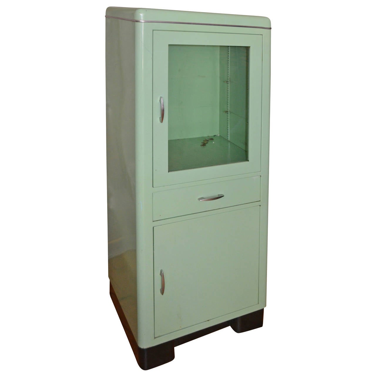 mid century dental medical cabinet in jadeite green enamel with chrome at 1stdibs. Black Bedroom Furniture Sets. Home Design Ideas