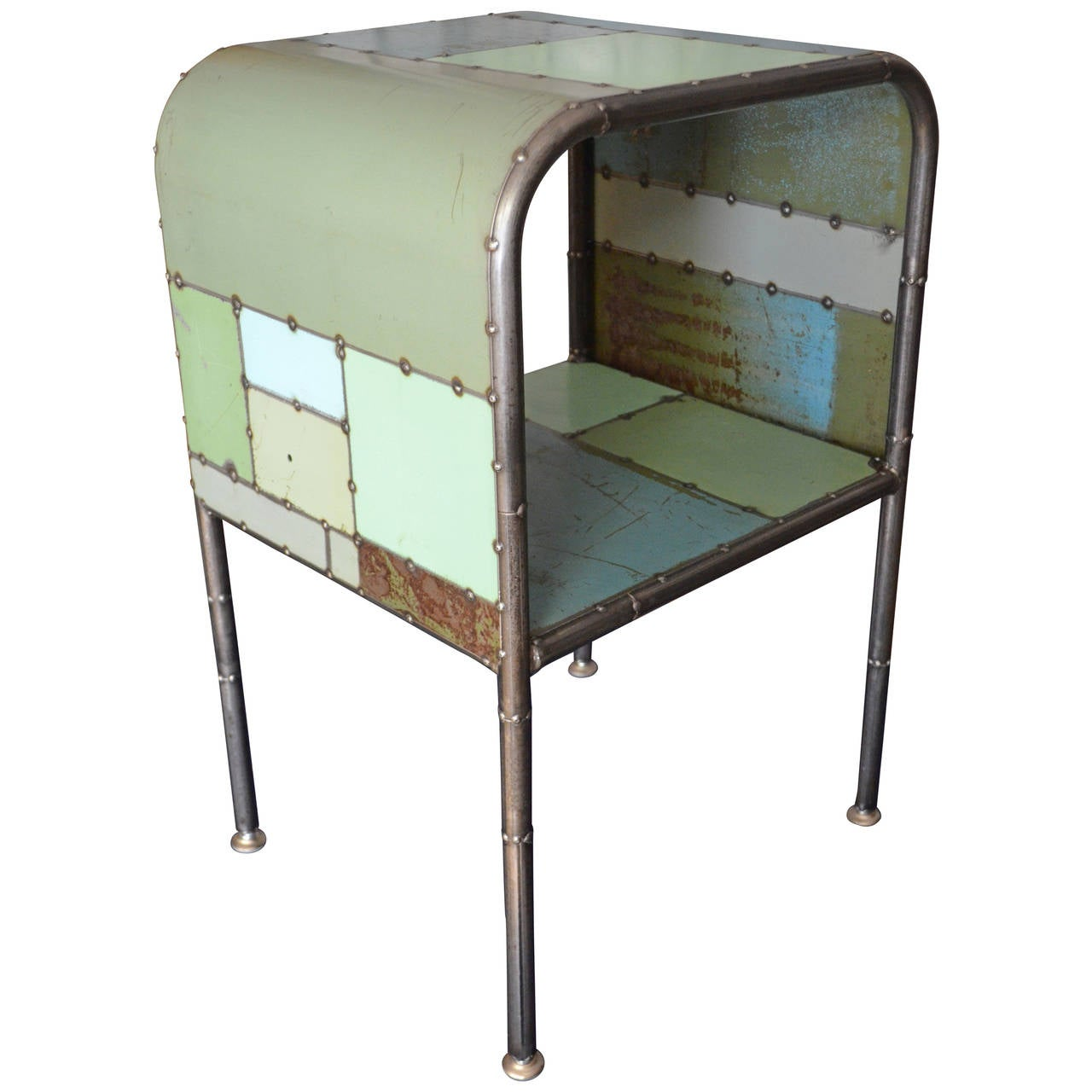 Bedside Table Made From Reclaimed Steel Locally Sourced